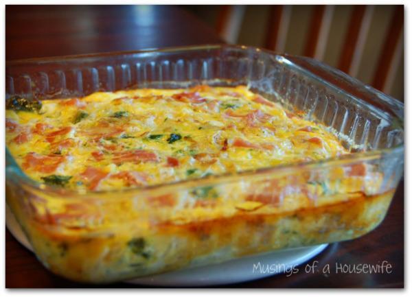 Caramelized Onion, Prosciutto and Broccolini Crustless Quiche