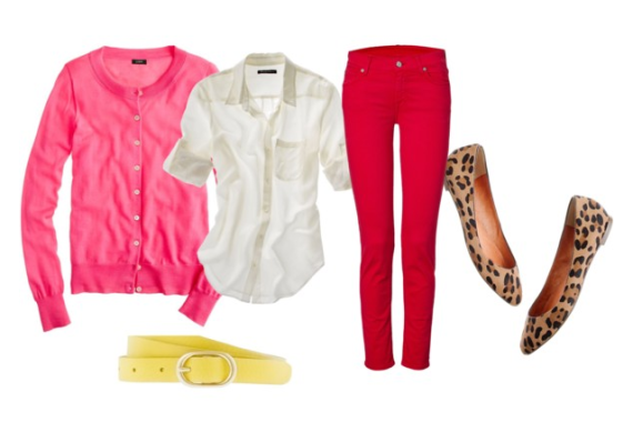 color blocking pink and red