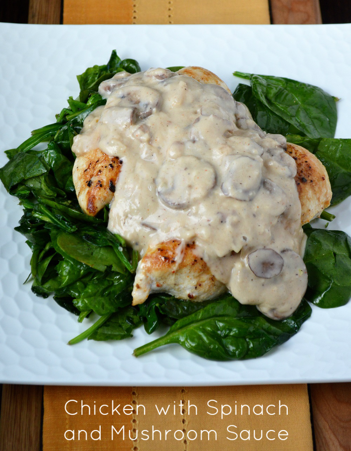 Chicken in Mushroom Sauce Served Over Sauteed Spinach