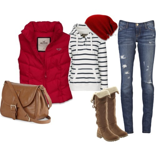 red and denim casual weekend outfit