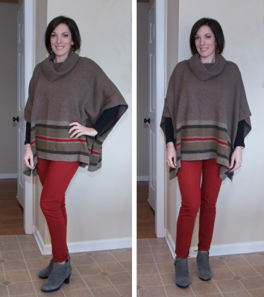 Mom Style | poncho and skinny jeans