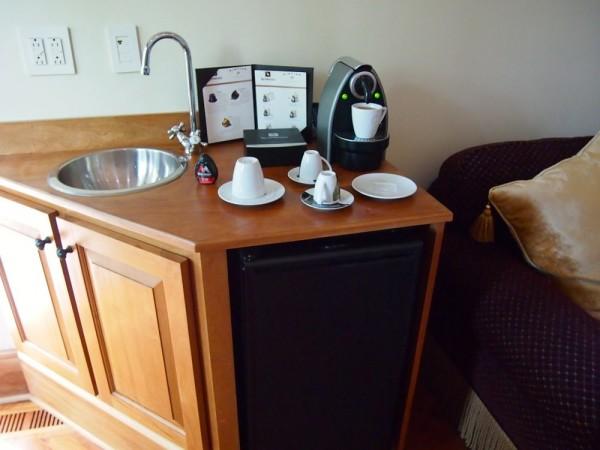 wet bar and espresso machine