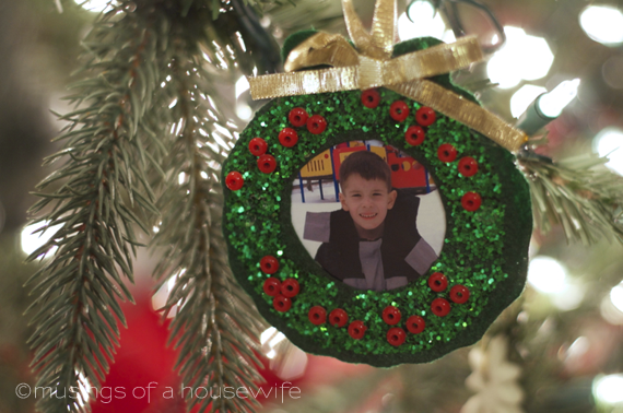 school photo wreath Christmas tree ornament