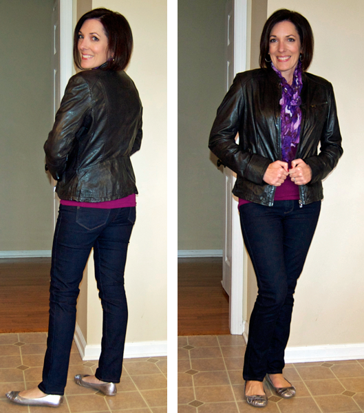 black leather jacket with skinny jeans and purple scarf