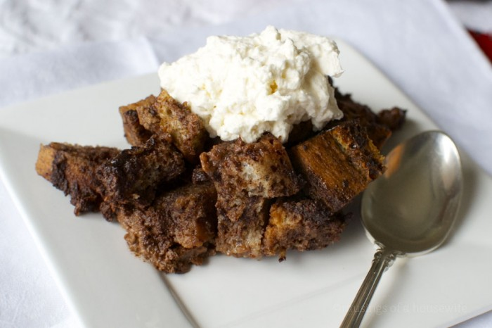 gluten-free chocolate bread pudding with homemade whipped cream