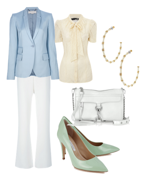 Wedgwood and White with Seafoam Green Shoes