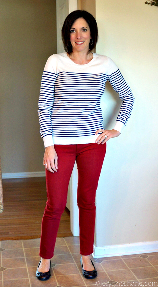 #ootd Red Jeans and Navy Stripes