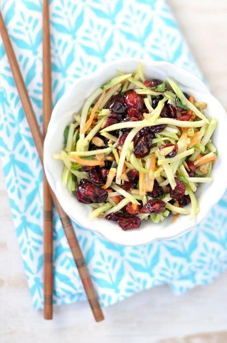 Asian Peanut Vinaigrette Broccoli Slaw Recipe-with-Cranberries-Sunflower-Seeds-1