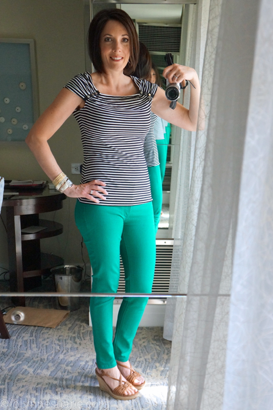 Black Striped Top with Emerald Green Skinny Jeans