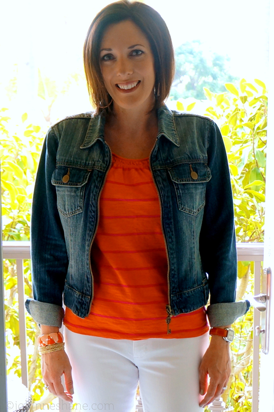 Coral and Pink with Denim