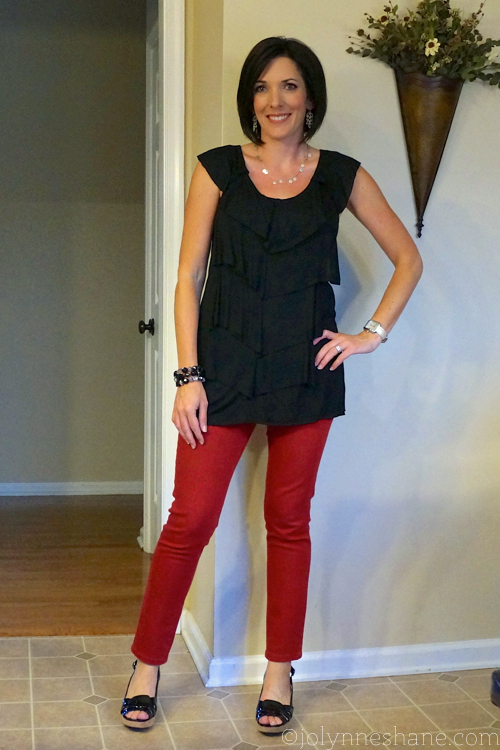 Date Night: red jeans and black ruffle top