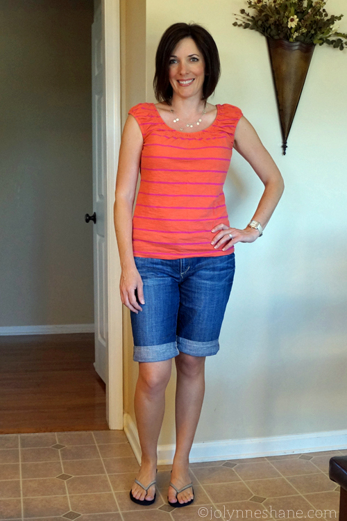 cuffed jean shorts with coral and pink top