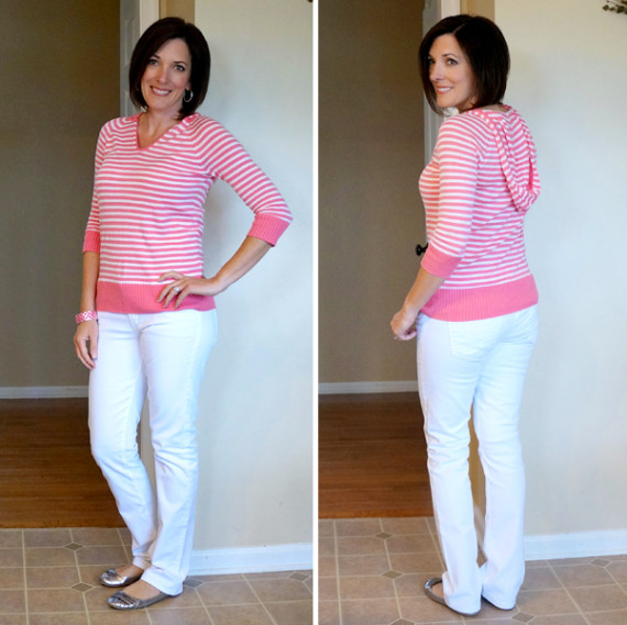 pink stripes & white jeans #30daysofoutfits