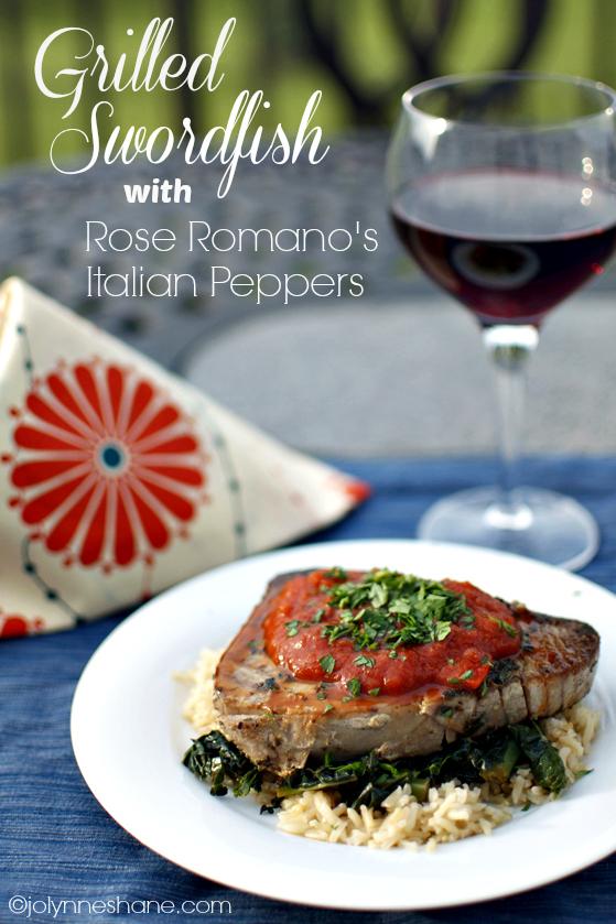 Grilled Swordfish w/ Rose Romano's Italian Peppers