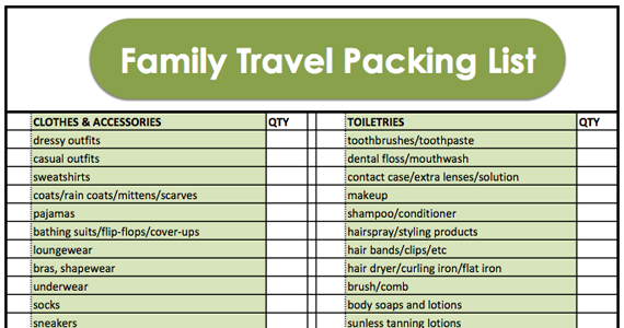 family travel packing list  with printable
