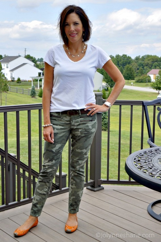 Camo Jeans with White Tee