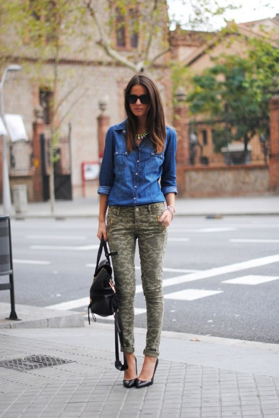 camo with chambray