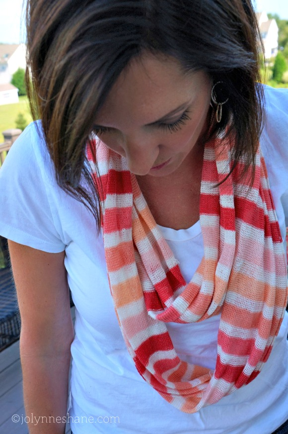 coral striped scarf