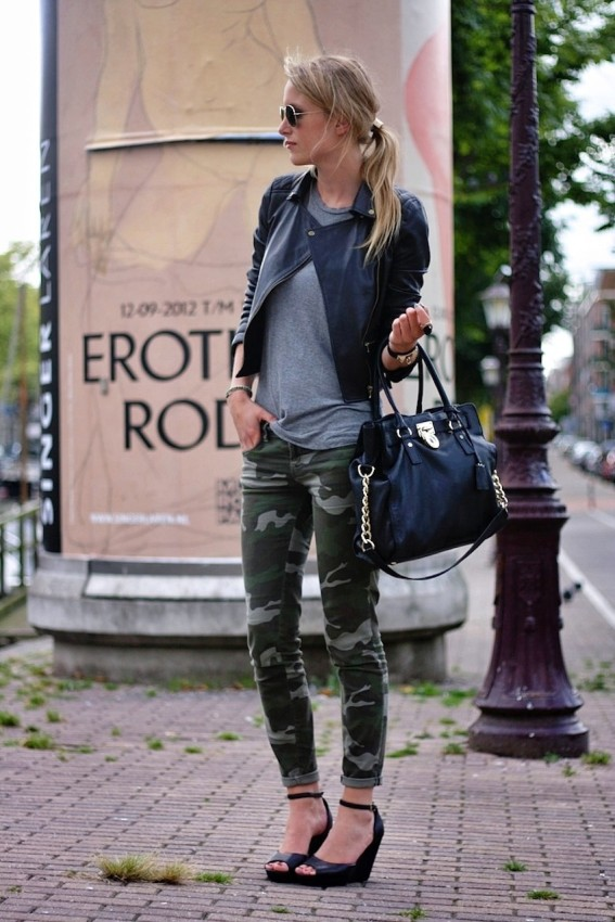 camo with gray and black leather