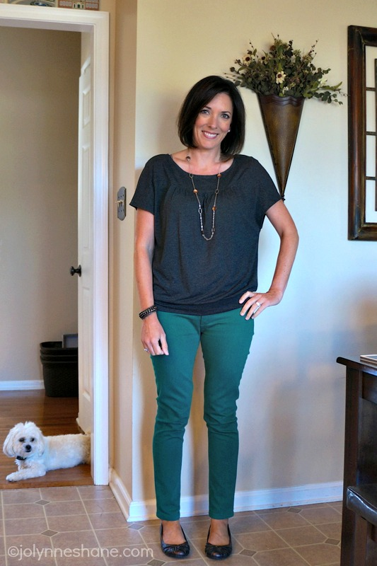 green jeans with charcoal