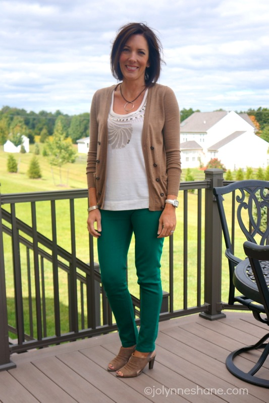 green jeans with taupe