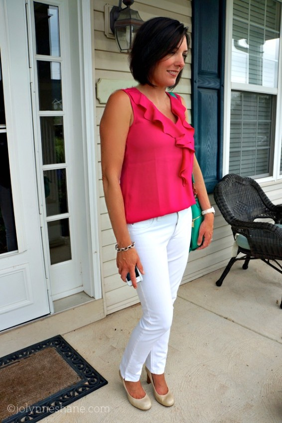 Pink Ruffle Blouse with White Jeans and Pumps