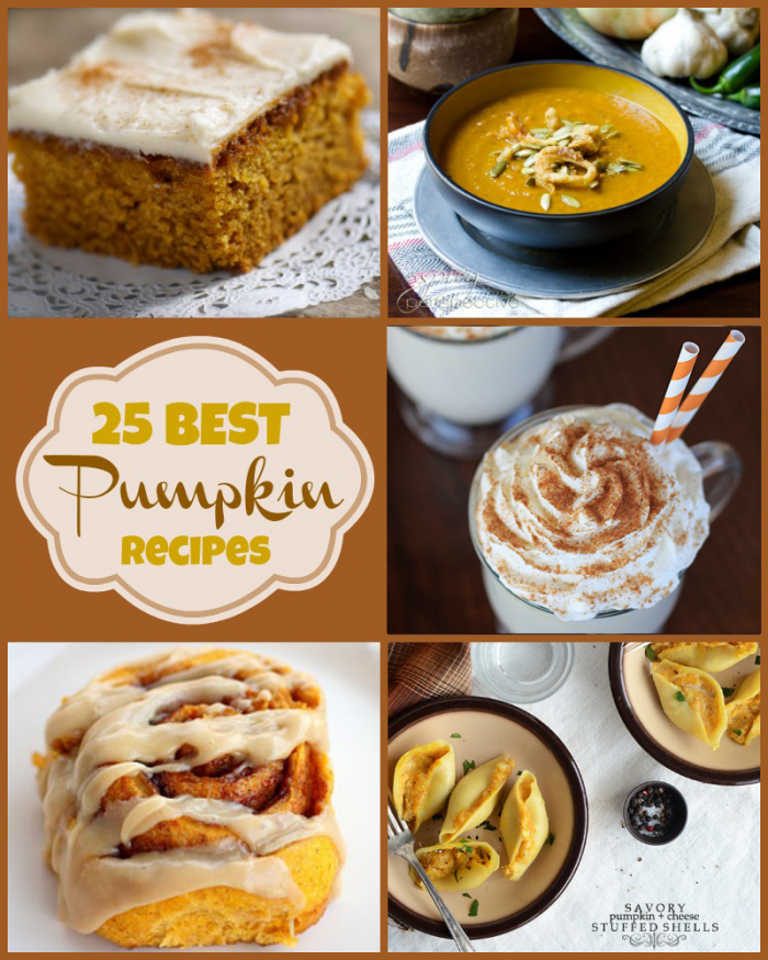 25 BEST Pumpkin Recipes from around the web! With pumpkin desserts and savory pumpkin recipes that are perfect for Thanksgiving dinner or your next fall get-together.