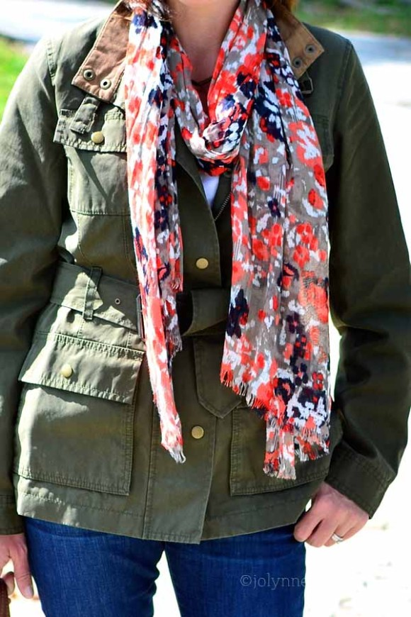 military green with coral/gray scarf
