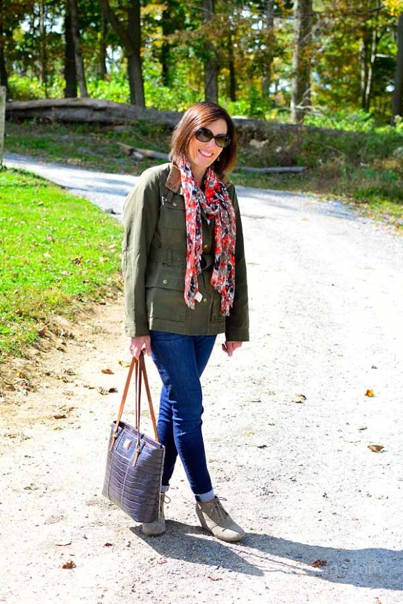 coral scarf and utility jacket