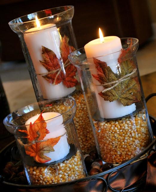 Easy Thanksgiving Decor Idea with Hurricane Vases
