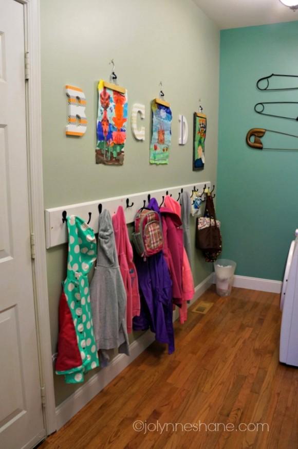 Laundry room makeover for Kids room hooks