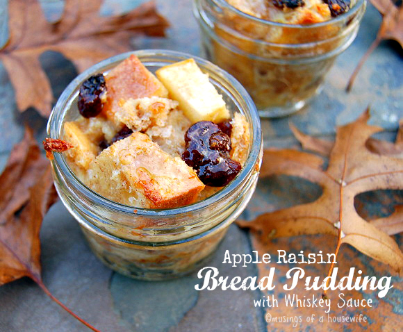 Apple Raisin Bread Puddings with Whiskey Sauce