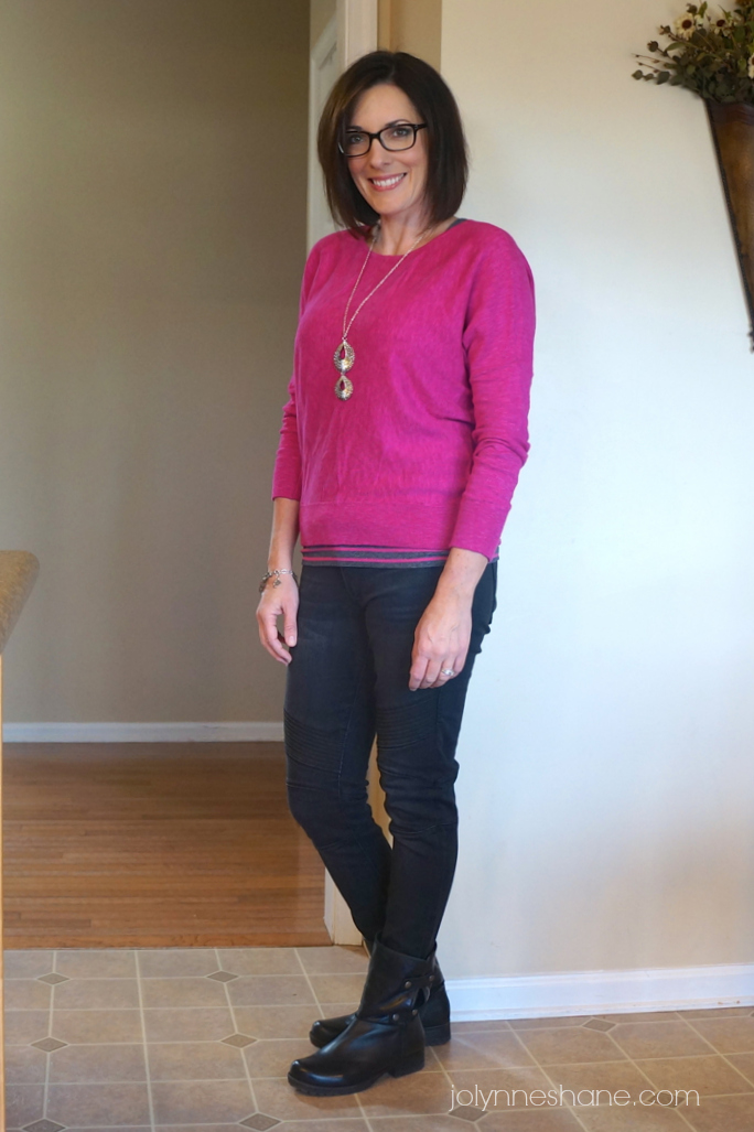 pink sweater moto jeans