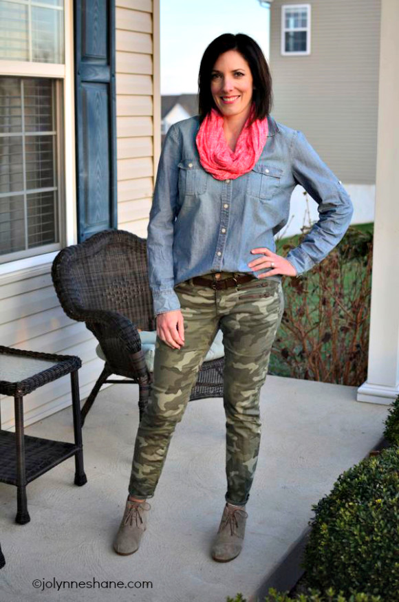 camo and chambray