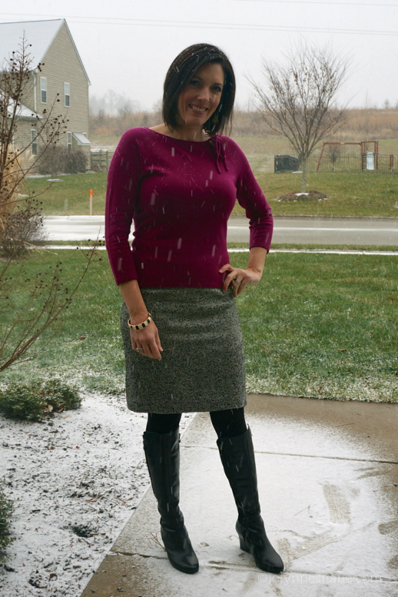 What to Wear to Church: Cashmere Sweater & Tweed Skirt with Boots