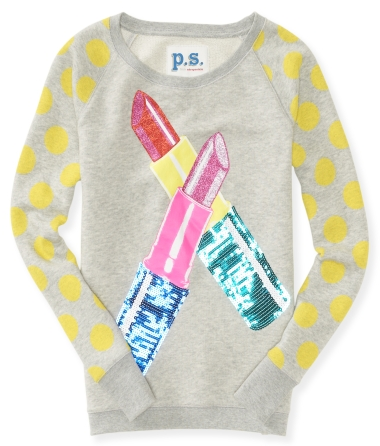 Kids' Long Sleeve Glitter Lipstick Sweatshirt
