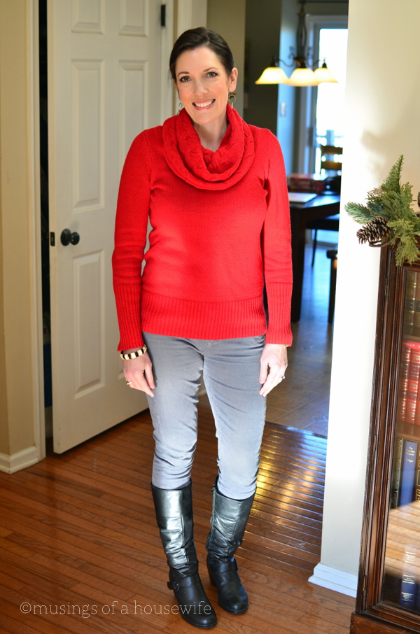 red-sweater-gray-cords