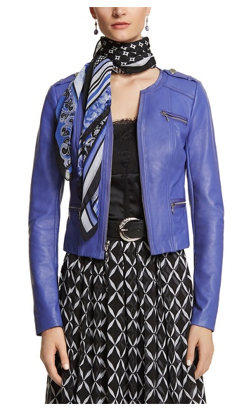 Cobalt Blue Moto Jacket with black and white
