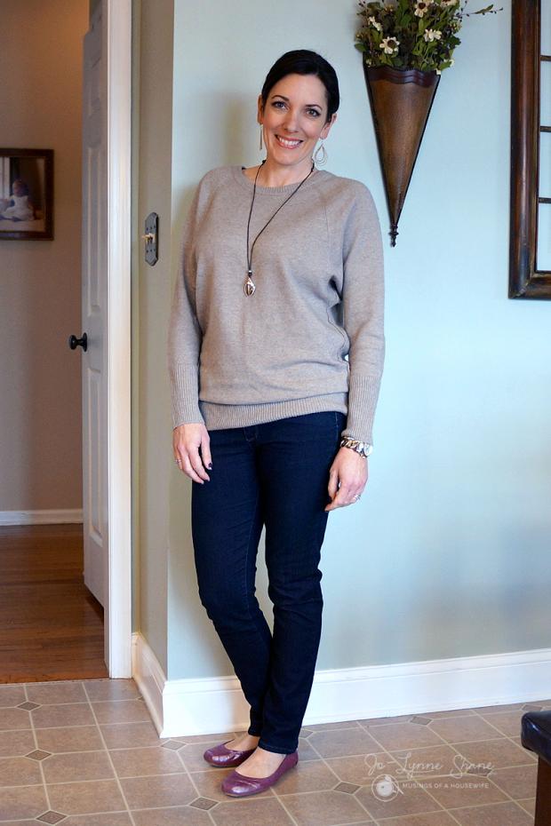 oatmeal sweater dark jeans