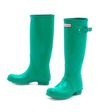 high gloss hunter boots in jade