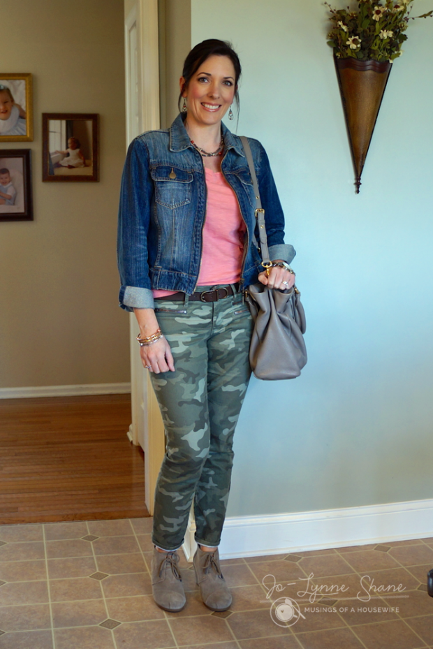 Camo and Coral with Denim & TOMS Desert Booties
