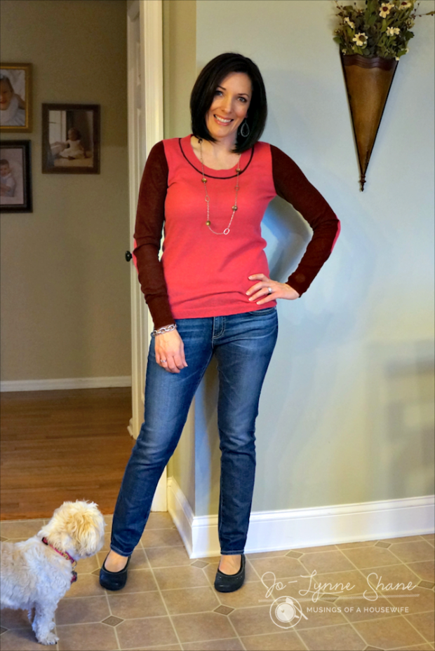 color block top with jeans