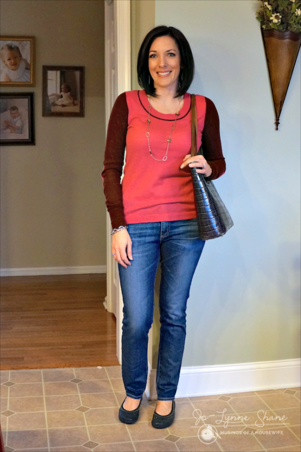 colorblock top with tote