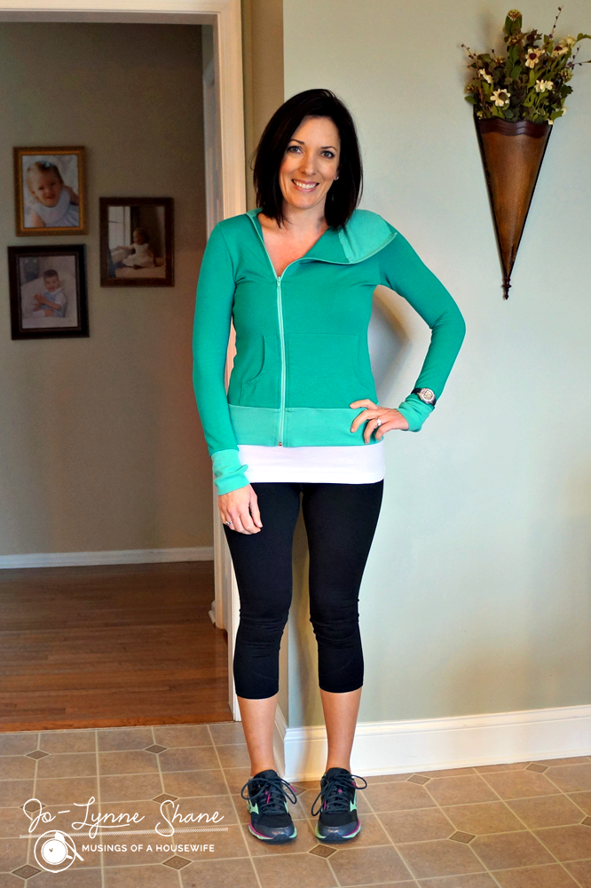 Evy's Tree Teal Zip-Up with Fabletics Leggings & Mizunos