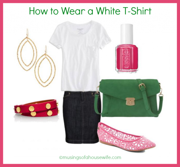 white tee with pencil skirt