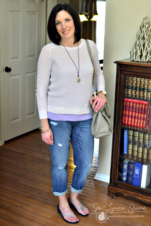 gray/lilac honeycomb sweater with LOFT boyfriend jeans