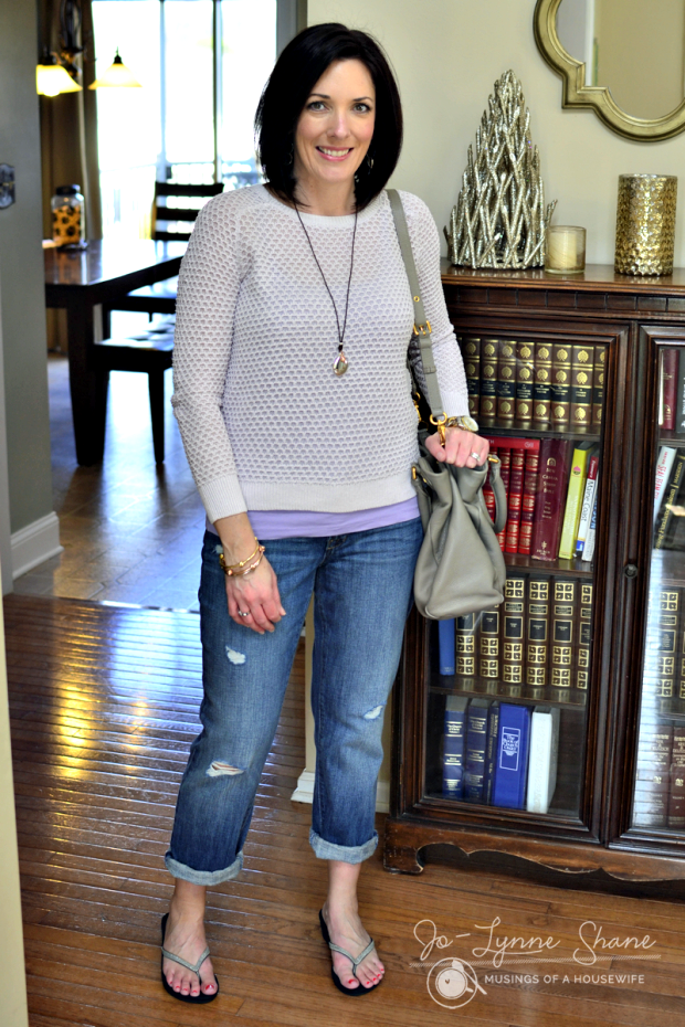 gray/lilac honeycomb sweater with boyfriend jeans