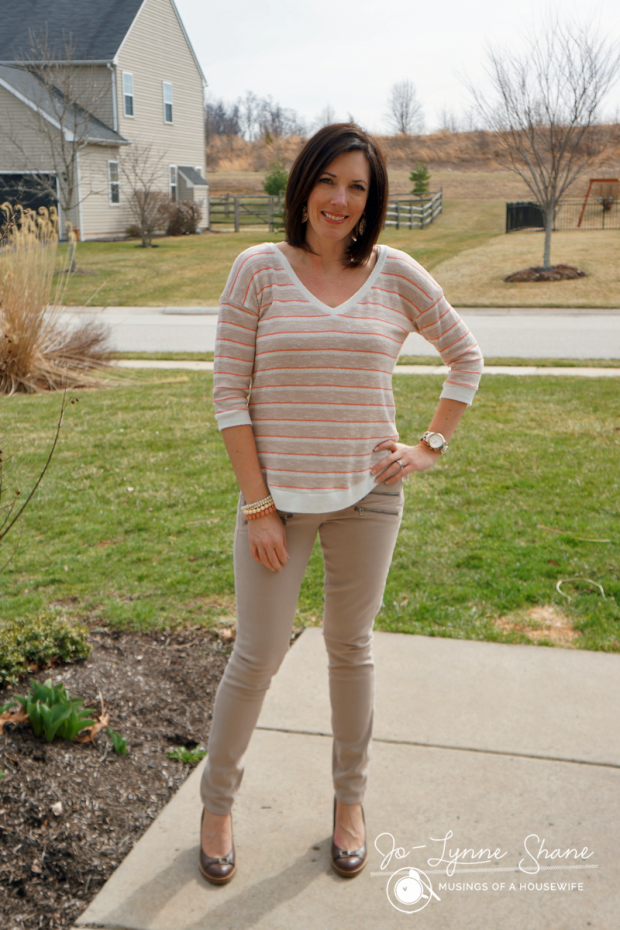 Splendid Striped Sweater with Khaki Moto Jeans