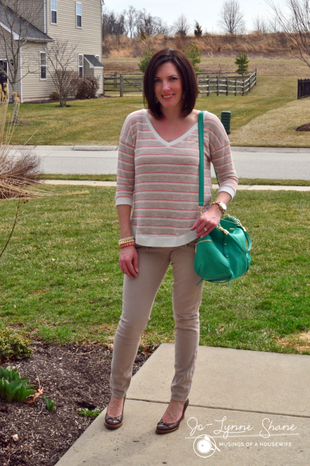 Splendid Striped Sweater with Khaki Moto Jeans & Green Satchel