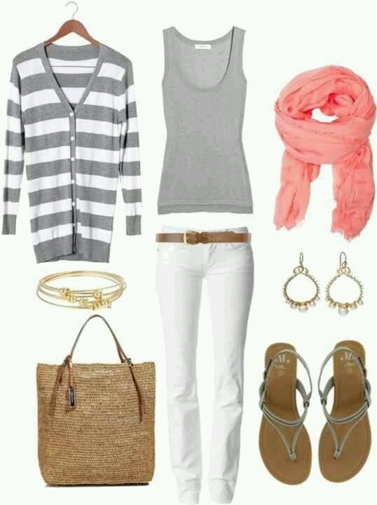 How To Wear White Jeans for Spring: white and gray